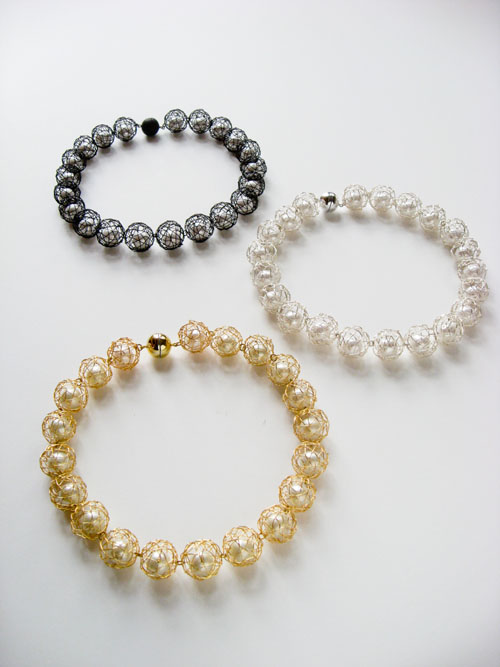1 Full pearls necklace with magnet clasp CPNF-1M(gold), 2M(black), 3M(silver)